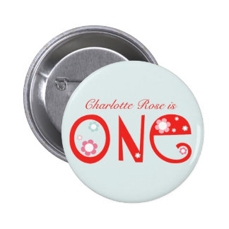 Flowery Fun First Birthday Button