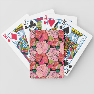 FLOWERY HIBISCUS FLOWERS BACKGROUND PATTERN TROPIC BICYCLE PLAYING CARDS