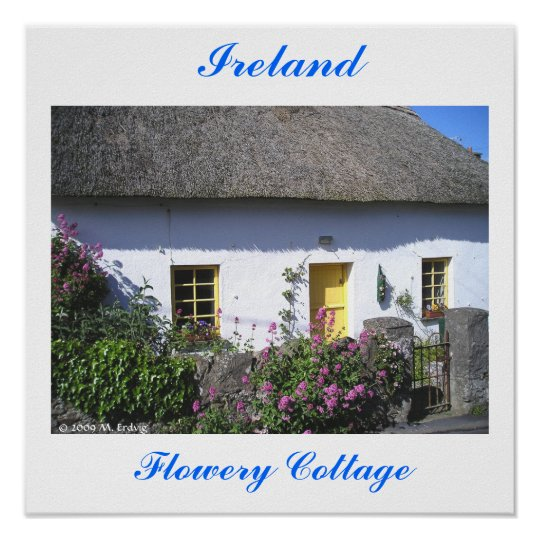 Flowery Irish Cottage Print