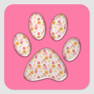 flowery kitty paw print square sticker