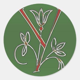 Flowery Letter Y Classic Round Sticker