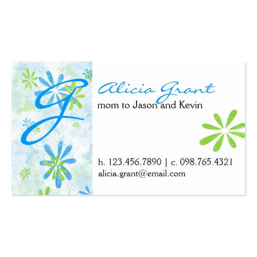 Flowery mommy card double sided standard business cards for Mommy business cards