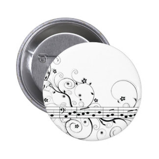 Flowery Music Pinback Button