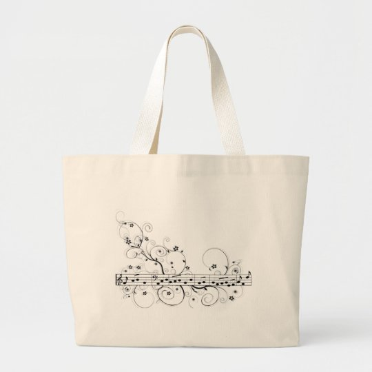 Flowery Music Large Tote Bag