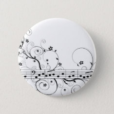 Flowery Music Pinback Button at Zazzle
