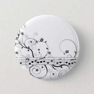 Flowery Music Pinback Button