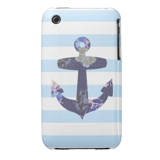 Flowery Nautical blue anchor iphone 3 case