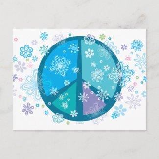 Flowery Peace Sigh POSTCARD postcard