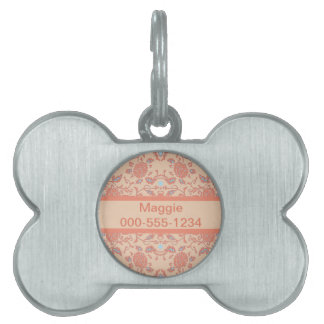 Flowery Peach and Coral Damask Pet Name Tag