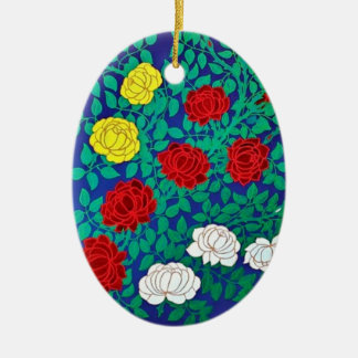 Flowery pendant Double-Sided oval ceramic christmas ornament