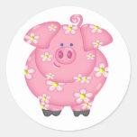 Flowery Piggie Classic Round Sticker