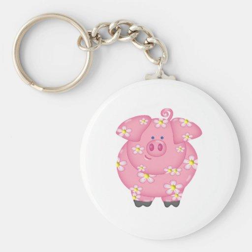 Flowery Piggie Keychain