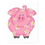 Flowery Piggie Postcard