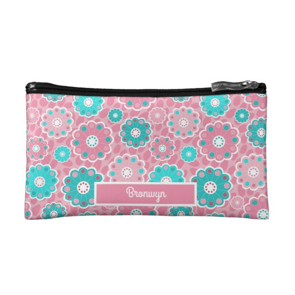 Flowery pink and aqua personalized makeup bag