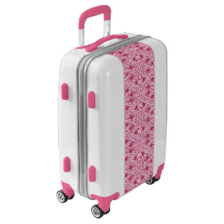 Flowery Pink and Red Damask Luggage