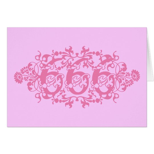 Flowery Pink Number 666 Card