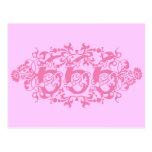 Flowery Pink Number 666 Postcard