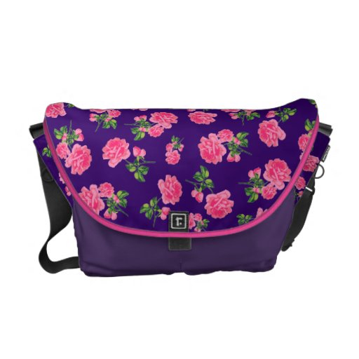 Flowery Pink Roses floral pink and purple bag Commuter Bags