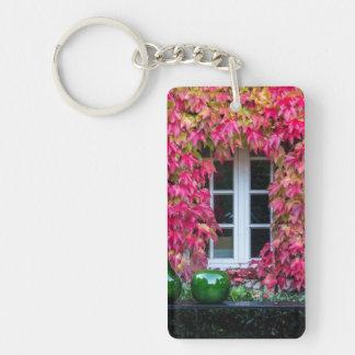 Flowery Pink Window Dulmen Germany Keychain