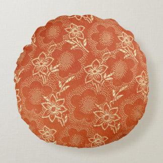 flowery silk round pillow