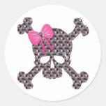 Flowery Skull Classic Round Sticker