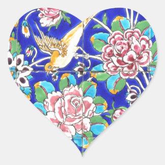 Flowery Tiles Heart Sticker