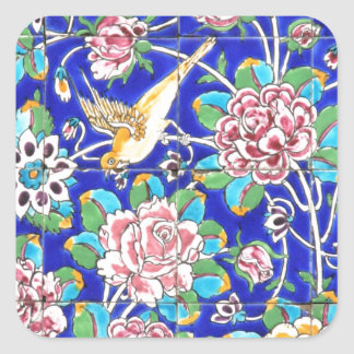 Flowery Tiles Square Stickers