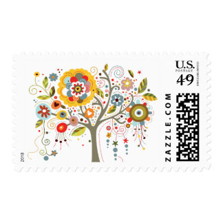 Flowery Tree Postage Stamps