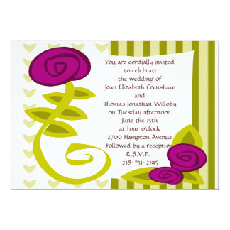 "Flowery Wedding Invitation 5"" X 7"" Invitation Card"