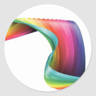 flowing abstract rainbow ribbon design classic round sticker
