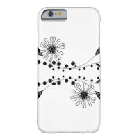 Flowing Black and White Floral Design iPhone 6 Case
