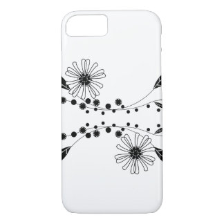 Flowing Black and White Floral Design iPhone 7 Case