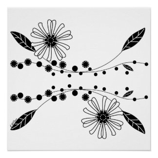Flowing Black and White Floral Design Poster