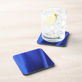 Flowing Blue Silk Fabric Abstract Beverage Coaster
