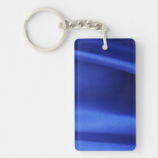 Flowing Blue Silk Fabric Abstract Double-Sided Rectangular Acrylic Keychain