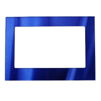 Flowing Blue Silk Fabric Abstract Picture Frame Magnet