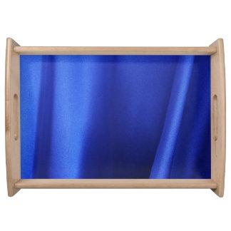 Flowing Blue Silk Fabric Abstract Serving Platter
