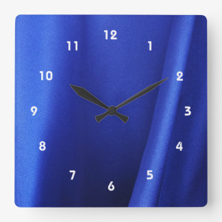 Flowing Blue Silk Fabric Abstract Square Wall Clock