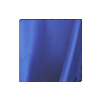 Flowing Blue Silk Fabric Abstract Stone Magnet