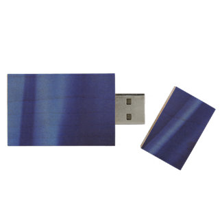 Flowing Blue Silk Fabric Abstract Wood Flash Drive