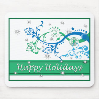 Flowing Blue Xmas Pine Mouse Pad