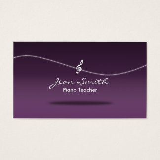 Flowing Clef Purple Piano Teacher Business Card