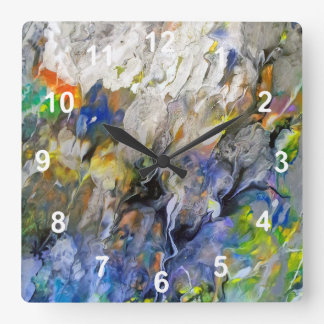 Flowing Color Abstract Square Wall Clock