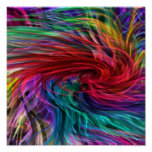 Flowing Fibre Art : Colorful Rainbow Graphics Posters