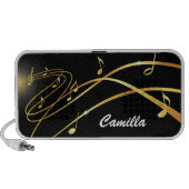 Flowing golden staff lines personalized iPhone, iPad, laptop speakers