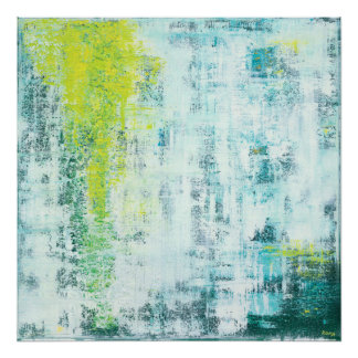 Flowing Green Abstract Art Poster