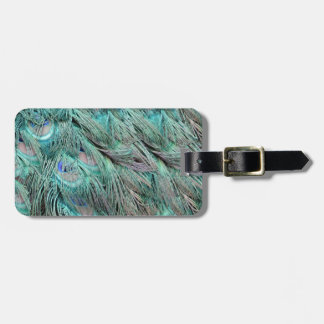 Flowing Green Feathers Hidden Blue Eyes Bag Tag
