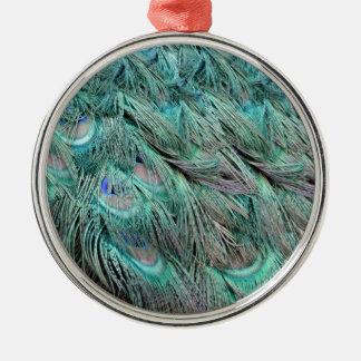 Flowing Green Feathers Hidden Blue Eyes Metal Ornament