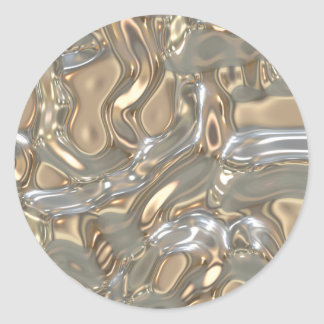 Flowing Liquid Gold and Silver Classic Round Sticker