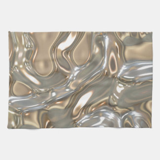 Flowing Liquid Gold and Silver Hand Towels